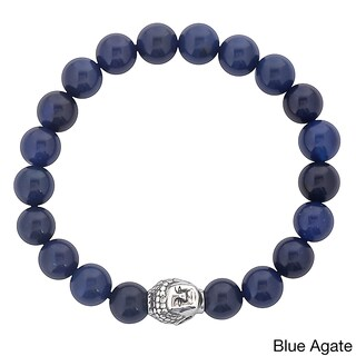 Men's Stainless Steel Buddha Bead and Natural Stone Beaded Bracelet (10mm) (3 options available)