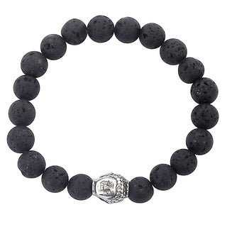Men's Stainless Steel Polished Buddha and Black Lava Stone Beaded Bracelet