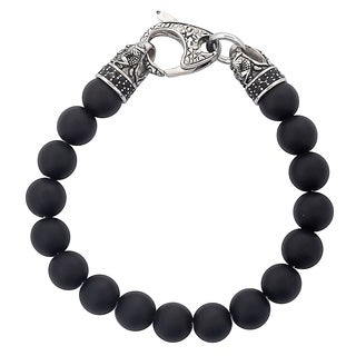 Crucible Antiqued Stainless Steel Matte Onyx Beaded Bracelet (10mm) - 8.5""