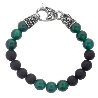 """Crucible Antiqued Stainless Steel Matte Onyx and Green Agate Beaded Bracelet (10mm) - 8.5"""""""