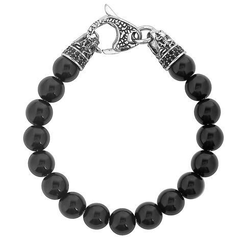 "Men's Antiqued Stainless Steel Polished Onyx Beaded Bracelet (10mm) - 8.5"""