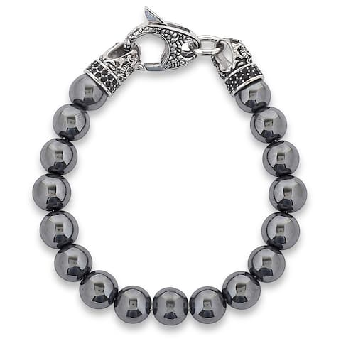 "Men's Antiqued Stainless Steel Polished Hematite Beaded Bracelet (10mm) - 8.5"""