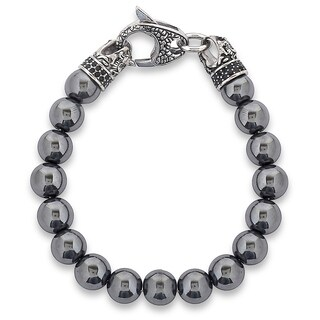 Crucible Antiqued Stainless Steel Polished Hematite Beaded Bracelet (10mm) - 8.5""