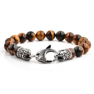 Crucible Antiqued Stainless Steel Polished Tiger's Eye Beaded Bracelet (10mm) - 8.5""