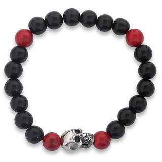 Men's Onyx and Dyed Turquoise Stainless Steel Skull Bead Stretch Bracelet