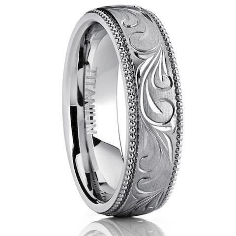 Oliveti Titanium Hand-engraved Comfort-fit Wedding Band with Milgrain Edges