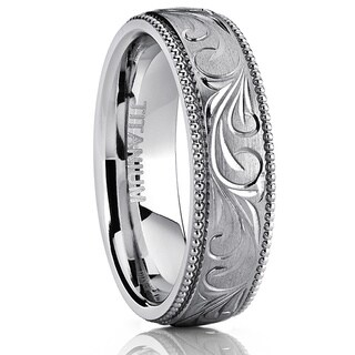 Oliveti Titanium Hand-engraved Comfort-fit Wedding Band with Milgrain Edges
