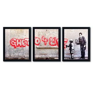 Banksy 'Ghetto For Life' Multi Framed Wall Art Art Set