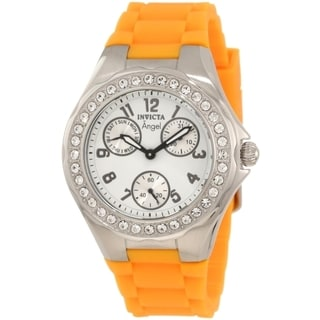 Invicta Women's Angel Polished Steel Large Crystal Bezel Polyurethane Watch