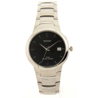 Mens Pulsar Stainless Steel Black Dial Date 5atm Casual Watch
