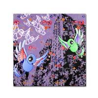 Miguel Paredes 'Purple Birds' Canvas Art - Multi