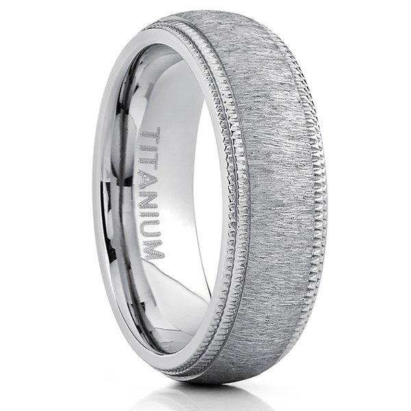 Oliveti Men's Titanium Hairline Ground Brushed Finish Dome Comfort-fit Wedding Band - Silver. Opens flyout.