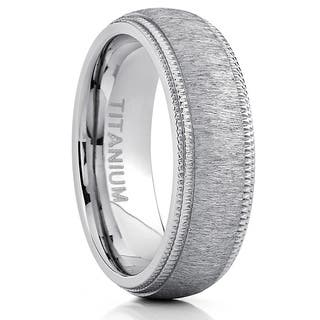 Oliveti Men's Titanium Hairline Ground Brushed Finish Dome Comfort-fit Wedding Band - Silver|https://ak1.ostkcdn.com/images/products/10480684/P17569460.jpg?impolicy=medium