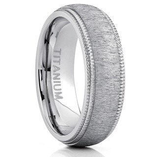 Oliveti Men's Titanium Hairline Ground Brushed Finish Dome Comfort-fit Wedding Band - Silver
