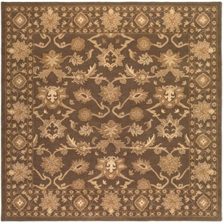 Hand-tufted Nick Traditional Wool Area Rug (Dark Brown - 4 Square)