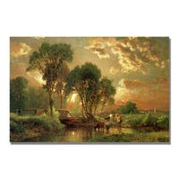 George Inness 'Medfield Massachusetts' Canvas Art - Multi