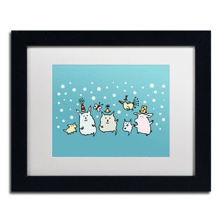 Carla Martell 'Christmas Creatures in Blue' White Matte, Black Framed Wall Art