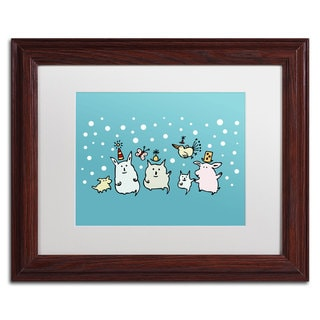 Carla Martell 'Christmas Creatures in Blue' White Matte, Wood Framed Wall Art