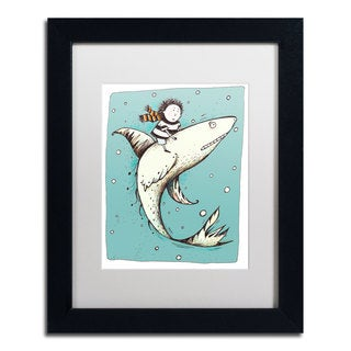 Carla Martell 'Fish Boy' White Matte, Black Framed Wall Art