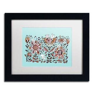 Carla Martell 'Flower Monsters' White Matte, Black Framed Wall Art