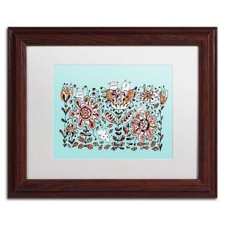 Carla Martell 'Flower Monsters' White Matte, Wood Framed Wall Art