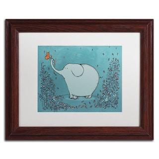 Carla Martell 'Garden Elephant' White Matte, Wood Framed Wall Art