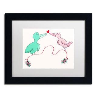 Carla Martell 'Love Birds' White Matte, Black Framed Wall Art