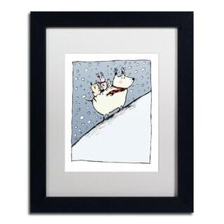 Carla Martell 'Kind Dog' White Matte, Black Framed Wall Art
