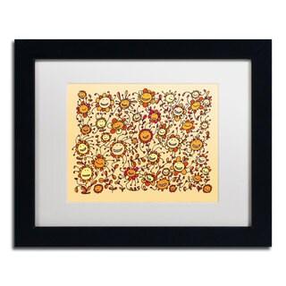 Carla Martell 'Smiling Sunflowers' White Matte, Black Framed Wall Art