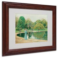 Childe Hassam 'Central Park' White Matte, Wood Framed Wall Art