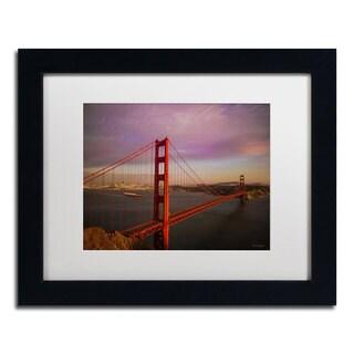 David Ayash 'Golden Gate Bridge' White Matte, Black Framed Wall Art