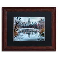 David Ayash 'Frozen Central Park Lake I' Black Matte, Wood Framed Wall Art
