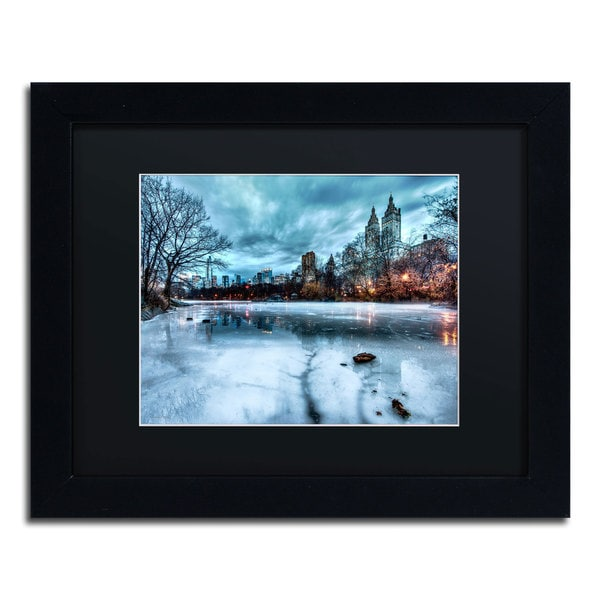 David Ayash 'Frozen Central Park Lake II' Black Matte, Black Framed Wall Art