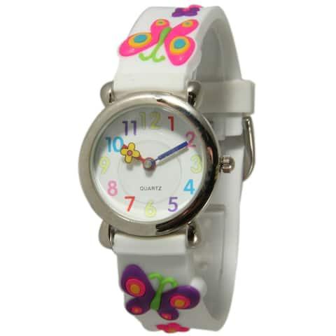 Olivia Pratt Kids' Butterflies and Flowers Watch with Silvertone Bezel