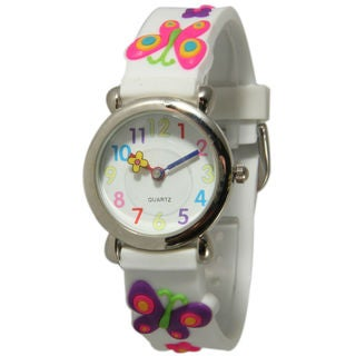 Olivia Pratt Kids' Butterflies and Flowers Watch with Silvertone Bezel