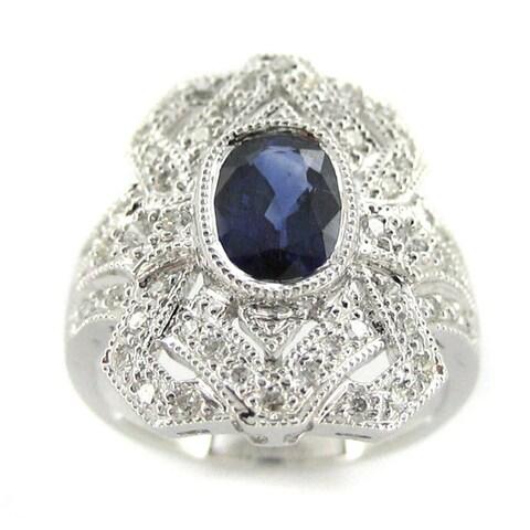 Kabella 18k White Gold Sapphire 2/5ct TDW Diamond Antique Design Ring (H-I, SI2-I1)