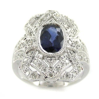 Kabella 18k White Gold Sapphire 2/5ct TDW Diamond Antique Design Ring (H-I, SI2-I1)