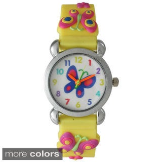 Olivia Pratt Kids' Butterfly Watch with Silver Bezel