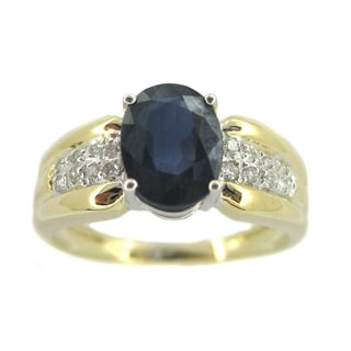 Kabella 14k Gold 1/8ct TDW Diamond and Oval-cut Sapphire Engagement Ring (H-I, SI2-I1)