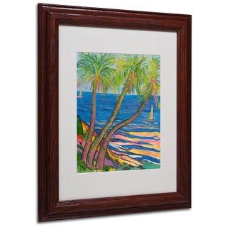 Manor Shadian 'Three Coconut Palms' White Matte, Wood Framed Wall Art