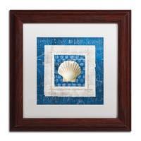 Belinda Aldrich 'Sea Shell III on Blue' White Matte, Wood Framed Wall Art