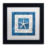 Belinda Aldrich 'Sea Shell IV on Blue' White Matte, Black Framed Wall Art