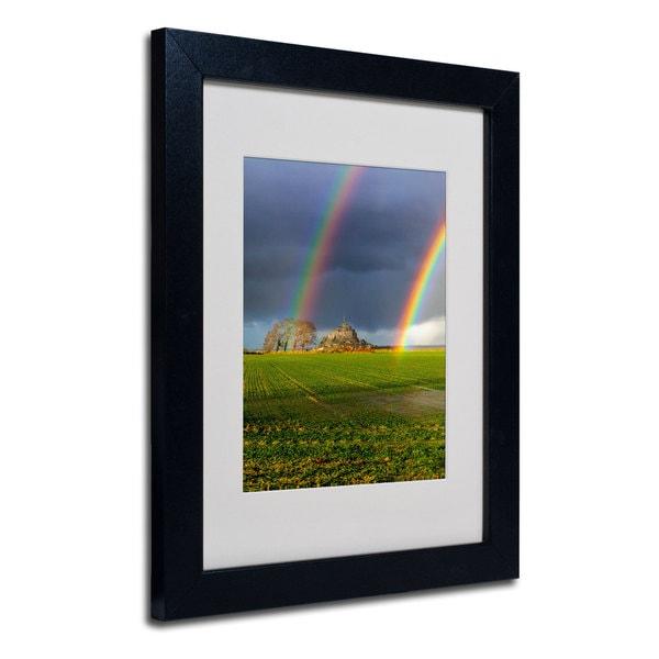 Mathieu rivrin double rainbow white matte black framed