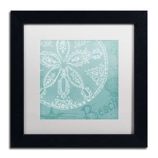 Daphne Brissonnet 'Aqua Treasure II' White Matte, Black Framed Wall Art