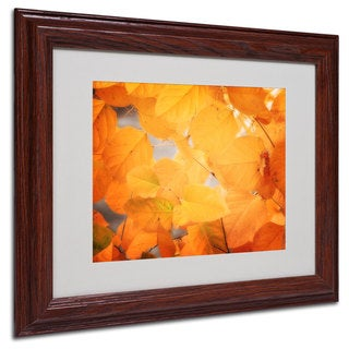 Philippe Sainte-Laudy 'Seasonal Leaves' White Matte, Wood Framed Wall Art
