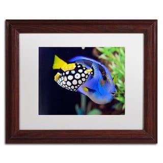 Kurt Shaffer 'Colorful Tropical Fish' White Matte, Wood Framed Wall Art