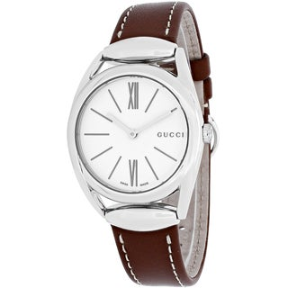 Gucci Women's YA140502 Horsebit Round Brown Leather Strap Watch