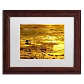 Beata Czyzowska Young 'Gold Digger' White Matte, Wood Framed Wall Art