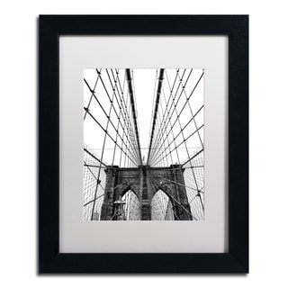 CATeyes 'Brooklyn Bridge 3' White Matte, Black Framed Wall Art