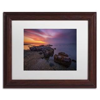 Lincoln Harrison 'Beach at Sunset 6' White Matte, Wood Framed Wall Art